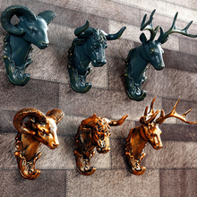Retro Animals wall hook decor creative home accessories resin hooks art gold deer head robe hook home bar fashion adornment gift(China)