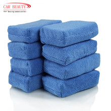 8 pcs  Car Paint Care Premium Grade Microfiber Applicators Sponges Cloths Microfibre Wax Polishing Car Detailing Wash Blue