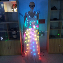 2016 Colorful Led Luminous Evening Party Dress Sexy Women Light Up Stage Performance Wedding Dress For Club Party Bar Halloween