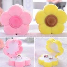 1 PC New Ring Necklace Earring Box Sun Flower Velvet Valentine Jewelry Case(China)