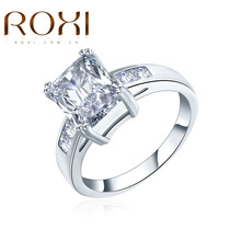 ROXI 2017 Square promise Rings Classic Prongs Sparkling Big White Cubic Zirconia CZ Wedding Engagement Forever Ring For Women