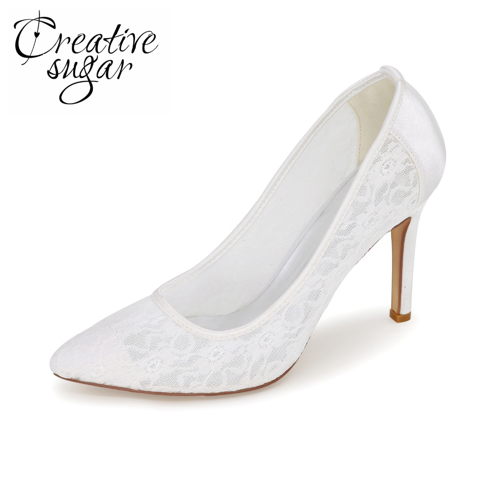 Creativesugar soft lace pointed toe high heels lady pumps wedding party bridal  evening dress shoes pink white ivory blue black<br>