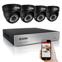 ZOSI HD 4CH CCTV System Set 720P DVR 4PCS 1.0MP 1280TVL IR Outdoor Security Camera System 4 Channel Video Surveillance Kit(China)