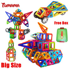 Tumama Big Size Magnetic Building Blocks 46/24 PCS Building Magnetic Designer DIY 3D Brick Education Learning Toys For Children(China)