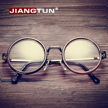 JIANGTUN Hot Women Men Big Round Glasses Frames Newest Purely Handmade Vintage Optical Eye Frame Plain Glass Fashion Oculos