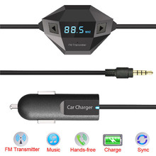 3.5mm FM Transmitter Car Charger Car Radio Adapter for iPhone Samsung HTC E#A