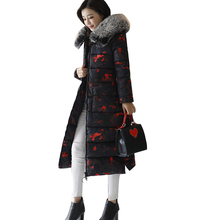 ilishop 2017 Winter Clothes New Down Jacke Fashion Long Style Camouflage And Camouflage Plus Size L-XXXL Red Green Blue