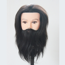 Hot Sale 8inch Professional Hairdressing Practice Dolls Male Mannequins With Beard 100 Human Hair Training Maquiagem Wig Head(China)