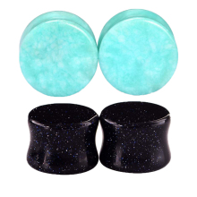 2pairs Women Men Ear Body Jewelry Stone Ear Plugs Gauges Ear Tunnels Stretching Expander Piercing  6 8 10 12 14 16mm