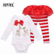 3-18M Newborn Infant Baby Girls Christmas Outfit Deer Romper with Striped Pants My first Christmas outfits Jumpsuit Costume(China)