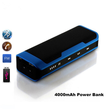 2017 Portable Bluetooth Speaker Stereo Sound Box Mp3 Player Touch Wireless Speakers With FM Mic Handsfree 4000 mAh Power bank