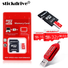 Wholesale Memory Card 64GB 32GB 16GB 8GB micro sd card Class 10 UHS-1 4GB Class 6 Microsd TF card + 0TG USB 2.0 Card reader(China)