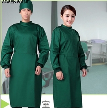 Free Shipping Long sleeve surgical clothing hospital scrubs overalls professional insulating clothes cheap operating gown coat(China)