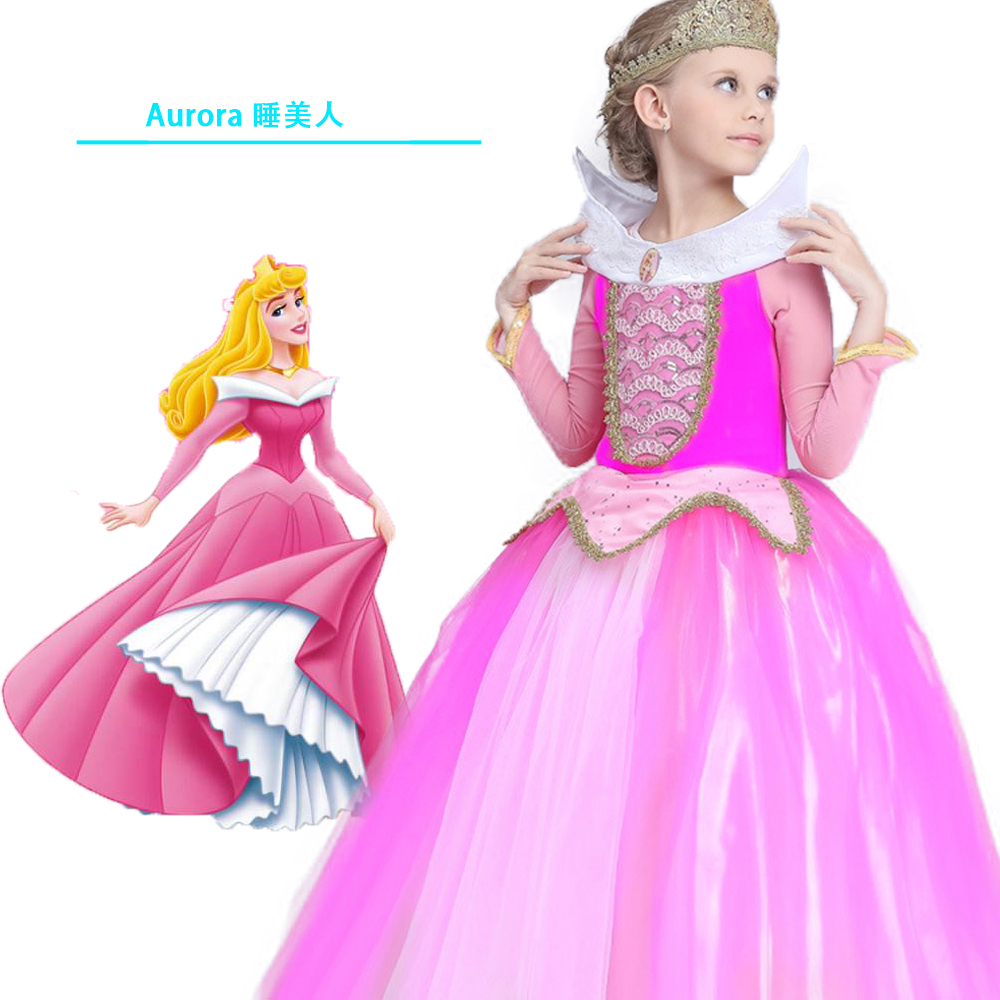 Christmas Kid Sleeping Beauty Aurora cosplay costume princess Aurora dresses for girls Halloween Costume tulle long party dress<br>