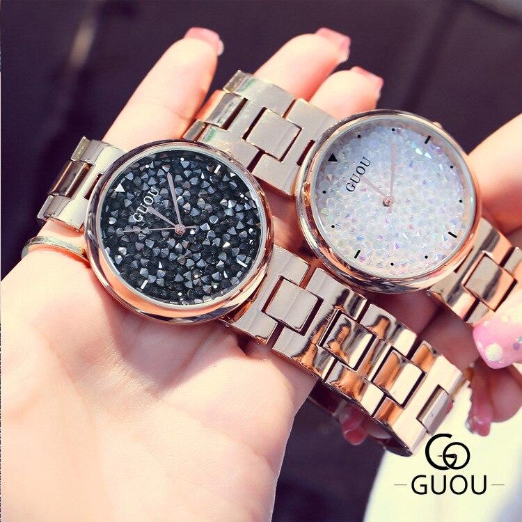 2017 GUOU Fashion Rhinestone Watch Women Luxury Stainless Steel Big Dial Waterproof Six-pin Calendar Quartz Watch &amp;Gift Bracelet<br>