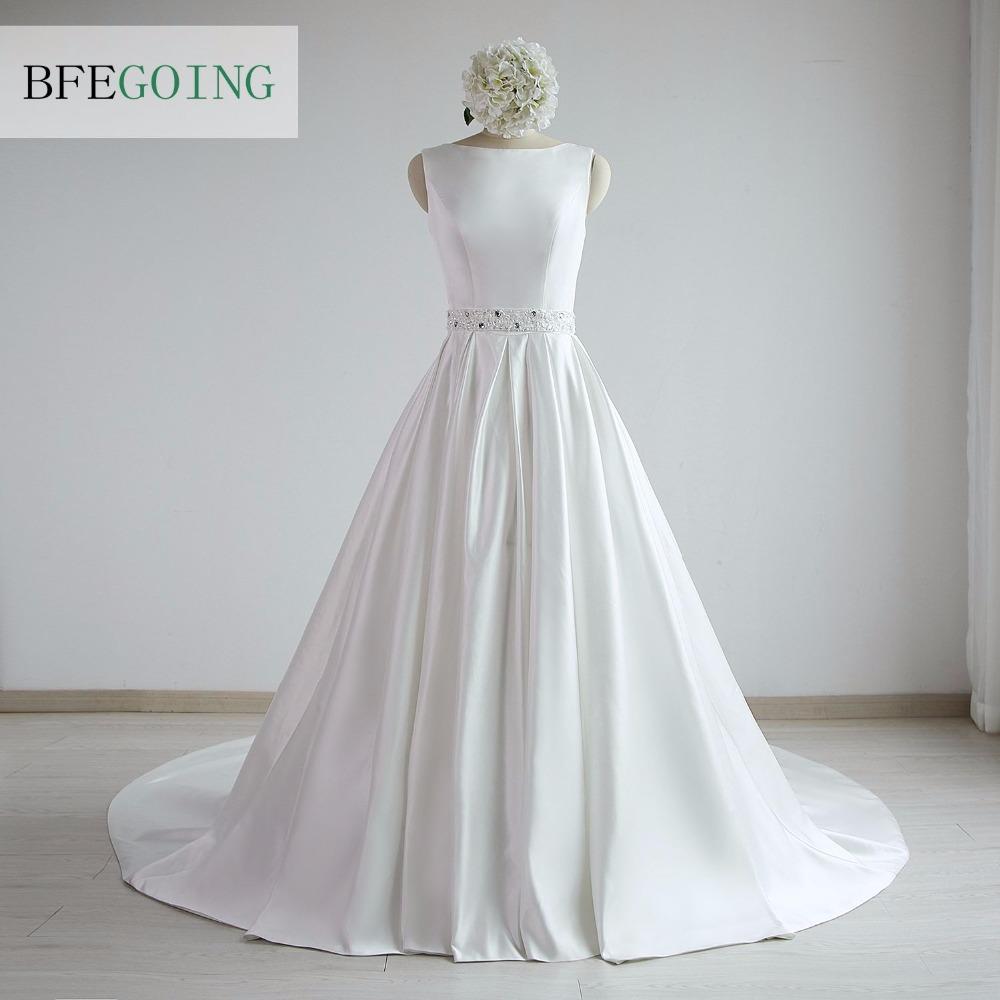 A-line Satin Boat Neck Wedding dress Floor-Length Chapel Train Sleeveless Beading Belt Real/Original Photos Custom made 1