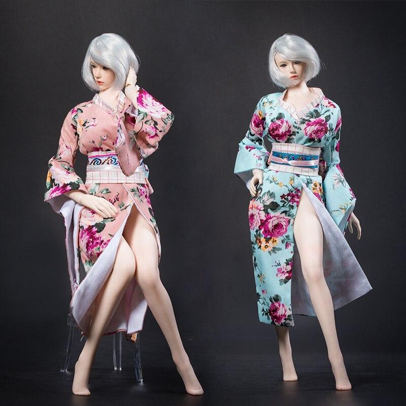 1:6 Female Blue Japanese Kimono Suit Model Clothing F 12/'/' PH Middle Bust Body