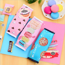 Korean Creative Macaron Cracker School Pencil Case Cute Pu Leather Pen Bag Kawaii Stationery Pouch Office School Supplies Zakka(China)