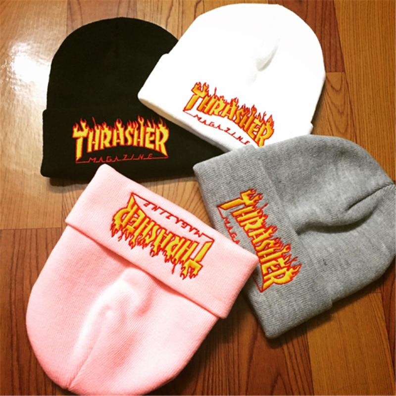 Thrasher Flame Knitted Caps Men Winter Warm Beanies Cap Hip hop Streetwear Skateboard Cotton Hat Trasher Embroidery Fashion HatsÎäåæäà è àêñåññóàðû<br><br><br>Aliexpress