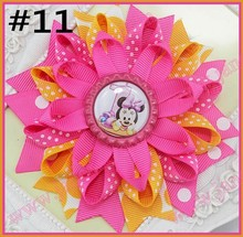 free shipping 200pcs4.5'' bottle cap loopy hair bows Flower hair bow  Loopy hair clips  Girls hair clippied