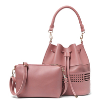 New Hot Europe Fashion Women Hollow Out Bucket Bag Tassel Drawstring Shoulder Bags High Quality Candy Color Purses and Handbags