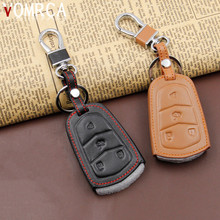 High Quality Leather Key Cover for Cadillac Key Case ATS-L CTS Start Stop Engine System Key Chain 4 Button Accessories