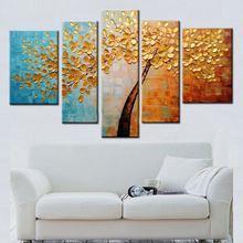 NEW 2016 200% hand-painted  Golden autumn silver rich tree  Art Decoration sitting room Oil Painting On Canvas Wall   91815801D