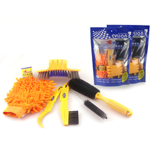6pcs/lot Bicycle Chain Cleaner Cycling Tire Brushes Portable MTB Road Bike Cleaning Tool Set Bicycle Cleaning Gloves Tyre Kits(China)