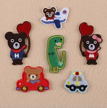 cartoon design Cute teddy bear the car   Iron On Patch Embroidered Children's clothing decoration  DIY  10pcs