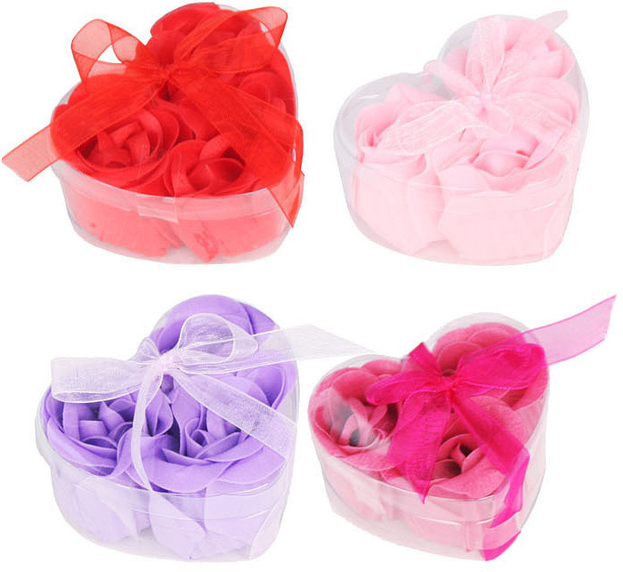 3Pcs/Box Colorful Heart-Shaped Rose Soap Flower Romantic Wedding Party Gift Handmake Flower Petals Decor Christmas gift(China (Mainland))