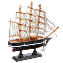 2017 style Top Fashion New Nautical Europe Home Carved Pine Home Decor Crafts Sailing Boat Model Handmade Wooden Fashion Home(China)