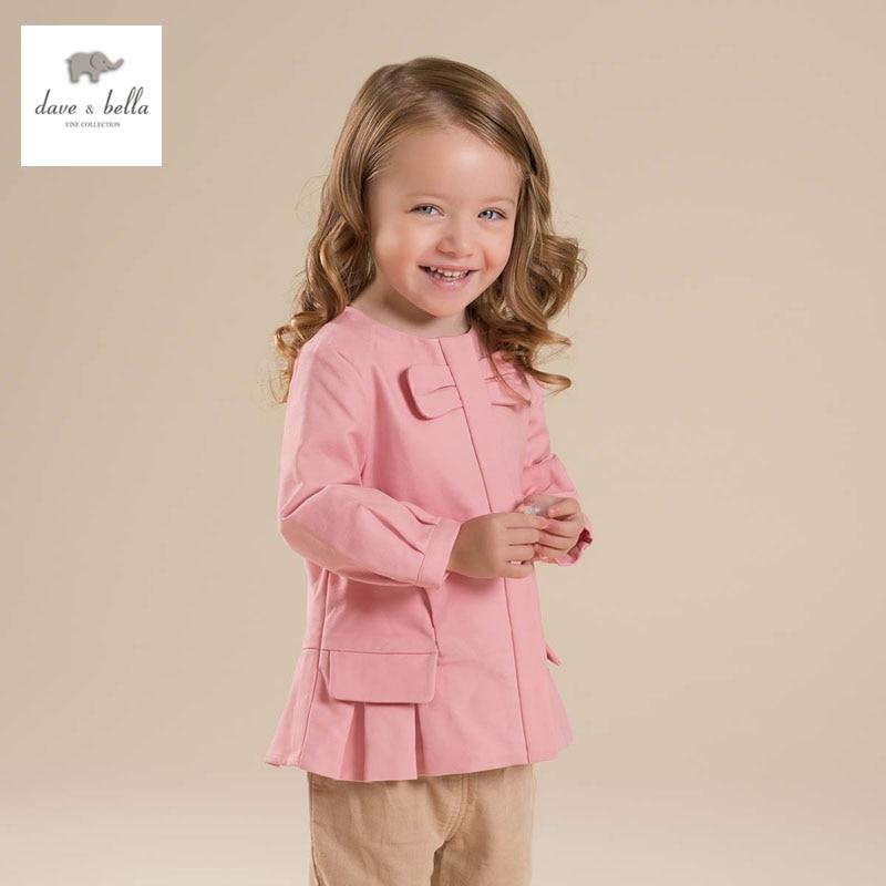 DB4519 dave bella spring new girls princess  pink outerwear children coat baby girl fancy coat<br>