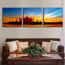 Modern 3 Pcs/Set Chinese Landscape Painting Printed On Canvas White marble Art & Culture Center Wall Picture Home Decor Painting(China)