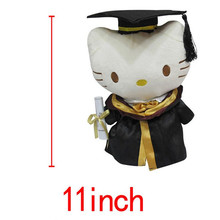 11inches Dr Graduation Animals White Hello Kitty KT Cats plush dolls Stuffed Toys Students Best Gift
