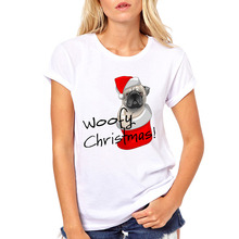 2018 Cute Animals Christmas Design Women Tshirts Funny Hum Pug Dog/Baby Reindeer/Fried Egg Nog Santa Printed T-shirt(China)