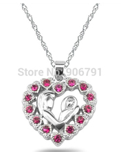 Newest Fashion 30pcs a lot Zinc Alloy Rhodium Plated Red Crystal Mother and Child Heart  Pendant Necklaces Jewelry