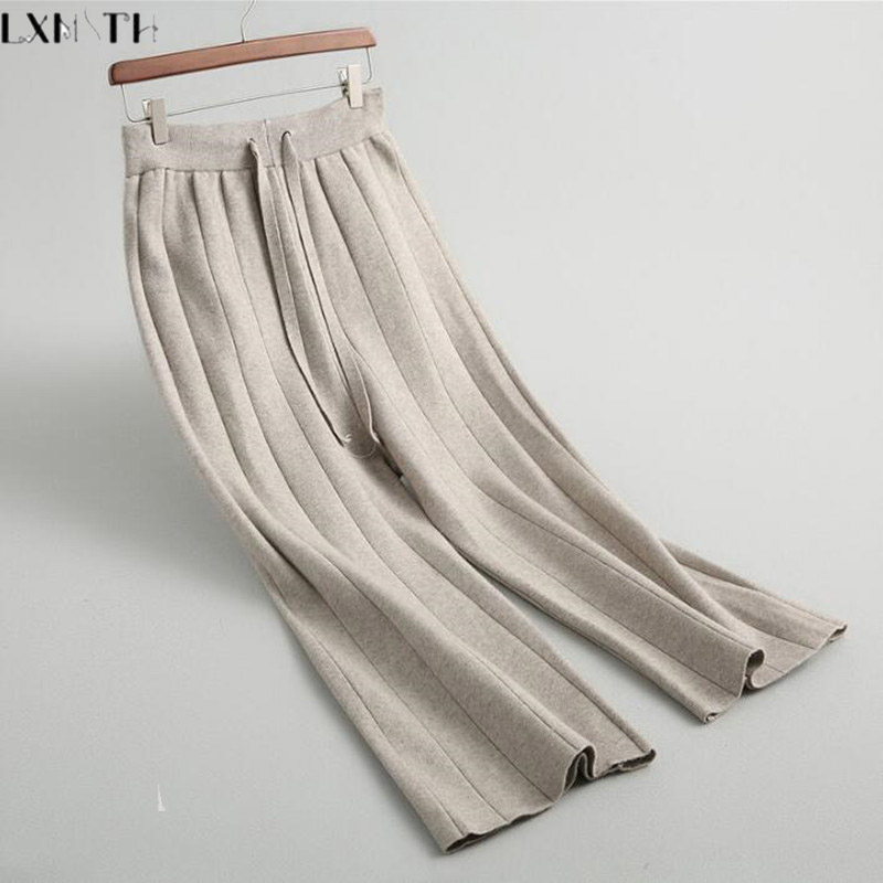 LXMSTH Fall Winter Korean Women Loose Casual Pants Lace UP Elastic Waist Wide leg Wool Knitted Pants Straight Grey Black Beige