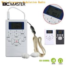 BCMaster Portable Mini Frequency Modulation FM Radio Receiver Digital LED Display Handheld Pocket Slim Radio With Earphone
