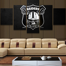 5 Piece Nfl Oakland Raiders Logo Modern Home Wall Decor Painting Canvas Art HD Print Painting Canvas Wall Picture For Home Decor