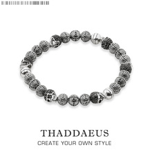Rebel Skull Cross Beads Bracelets,Thomas Style Bracelet Jewerly For Men,Link At Heart Gift In Silver & Zirconia,Wholesale Price(China)