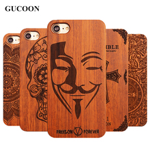 "Retro PC+Wood Skull Case for iPhone 6 4.7"" Novelty Vintage Phone Cases Cover for iPhone 6s SE 5S 7 7 Plus 8 Plus X Plastic Shell(China)"