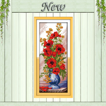 Beautiful Poppy celadon vase,Pattern printed on the fabric DMC 11CT 14CT Cross Stitch kits,needlework Sets DIY crafts embroidery