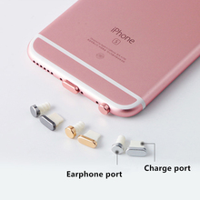 Charging port dust plug + 3.5mm earphone port dust plug headphone plugs for phones for iphone 6 6s 7 plus phone accessories(China)