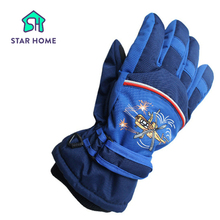 Star Home 2016 New Arrival 6-10 Years Children Warm Ski Snow Snowboard Gloves Winter Warm Gloves Kids Cartoon Designs 4 Colors