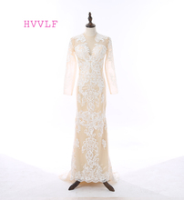 HVVLF 2017 Celebrity Dresses Mermaid High Collar Long Sleeves Appliques Lace Champagne Red Carpet Dresses Long Evening Dress