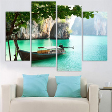 Board Lake Tree Landscape 4 Panel Print Canvas Painting Wall Art Home Decoration Giclee Prints Poster No Frame(China)