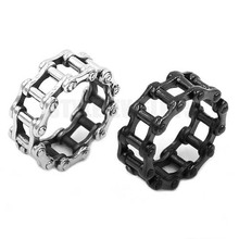 Wholesale Motorcycle Biker Chain Ring Stainless Steel Jewelry Silver Black Bicycle Chain Ring Motor Biker Mens Boys Ring SWR0680(China)