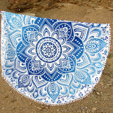 Beach Holiday Travel Tassel Boho Bath Pool Round Beach Towels Cover Ups Print Shawf Exotic Blankets Bath Towel