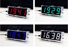 DIY KIT Electronic clock  LED microcontroller digital time Light Control Temperature  free shipping