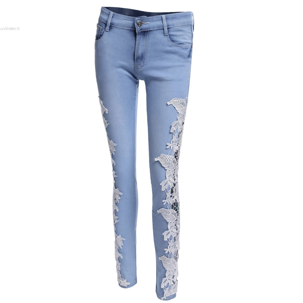 2017 Fashion Lace Crochet Women Jeans Plus 5 Sizes Sexy Hollow Out Flower Hook Tight Feet Pencil Denim Pant Skinny Jeans u2Одежда и ак�е��уары<br><br><br>Aliexpress